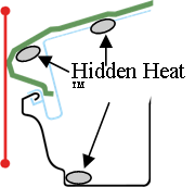 Diagram of Hidden Heat cables in relation to the roof and gutter