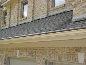 A roof with seamless gutters installed