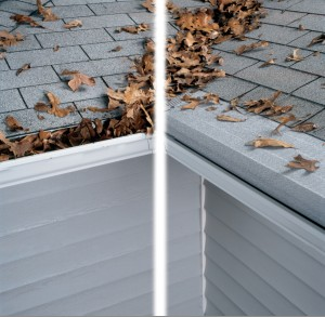 Before and after picture: before picture features leaves in a gutter, after picture features a gutter helmet keeping leaves out of the gutter